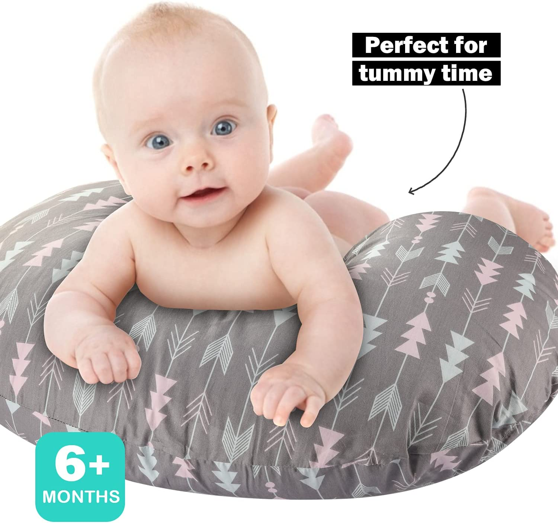 Nursing Pillow , Breastfeeding & Bottle Feeding Baby Support Pillow for Mom , Newborn Infant Snug Cotton Pillow Fits 0-12 Months Boys and Girls, Arrow