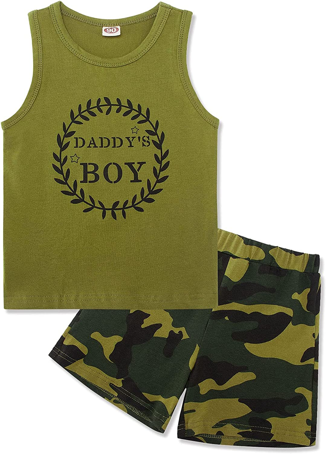 Kids4ever 2Pcs Baby Boys Summer Clothes Sets Cute Letters Print Tank Tops Sleeveless Shirt + Shorts Pants Outfits