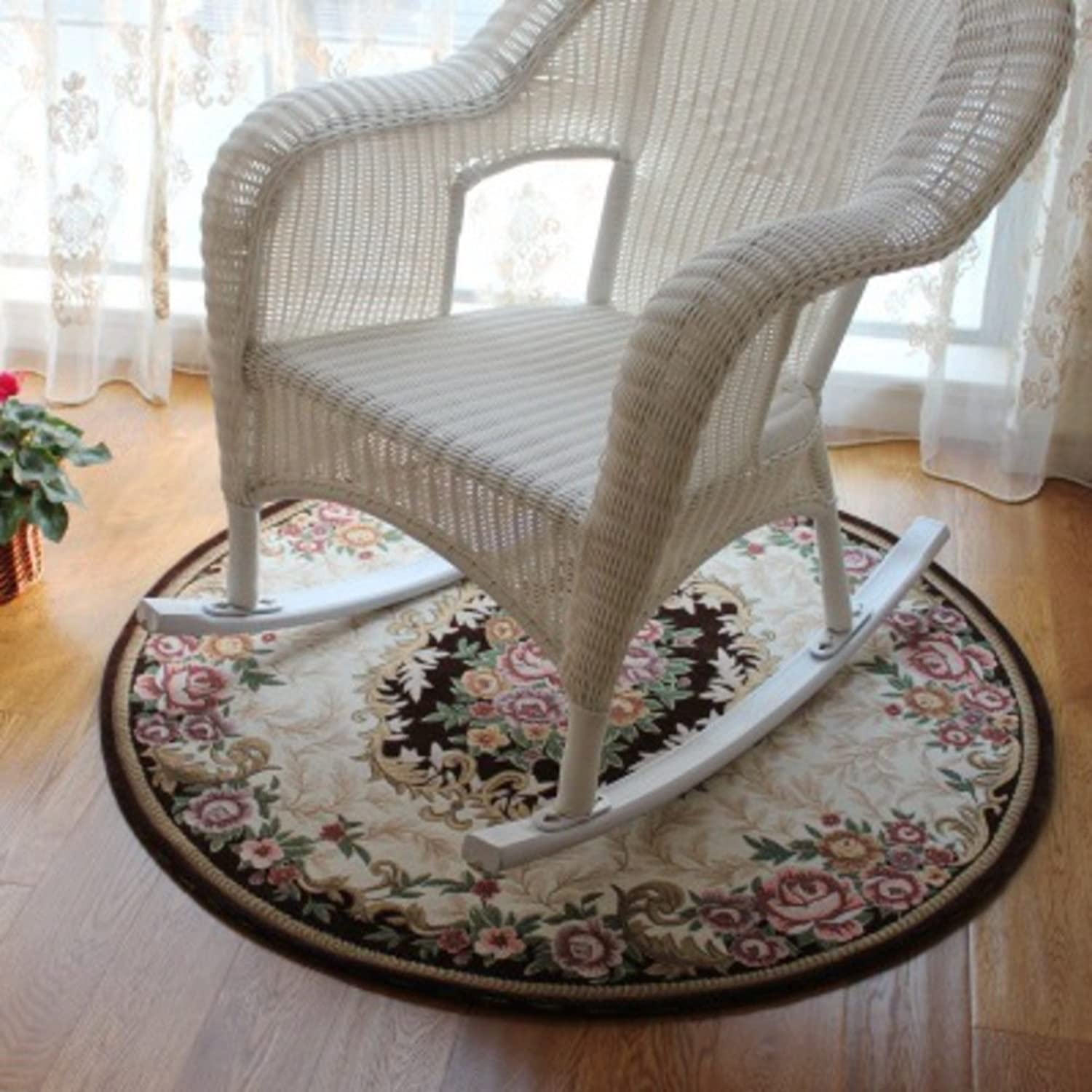 Round Mat Company Chair,Water-Absorption Carpet Rug European mat Non-Slip Symmetrical Round Design Modern Simple for Living Room or Bedroom-B Diameter 47inchThickness 0.31