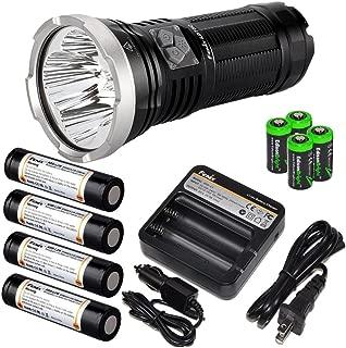 FENIX LD75C 4200 Lumen four color CREE LED (White/Red/Blue/Green) Flashlight with Fenix ARE-C1 battery charger, 4 X Fenix 18650 ARB-L2M rechargeable Li-ion batteries and four EdisonBright CR123A Lithium batteries bundle