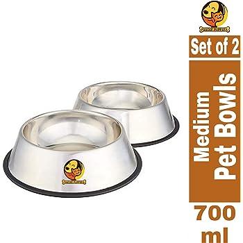 Foodie Puppies Stainless Steel Anti Skid Dog/Pet Bowl Medium - Set of 2