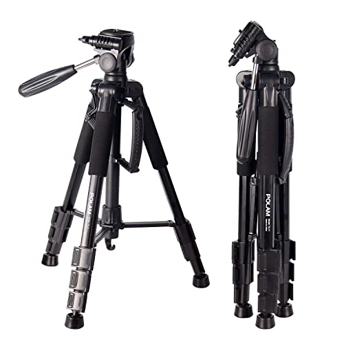 """POLAM-FOTO 55""""/140cm Lightweight Tripod with Bubble Level, Travel Camera Tripod with Carry Bag for SLR/DSLR fits with Canon/Nikon/Sony/etc"""