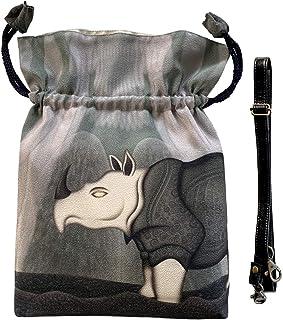 [アルテセイコ] 2WAY巾着ショルダーバッグ【 Presence】本体内ポケット+ Pポーチ付オリジナルプリント&ハンドメイド少数販売品