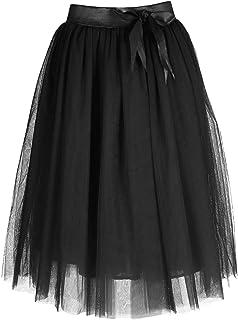 FEOYA - Falda Tul Mujer Falda Midi Plisada con Cintura Elá