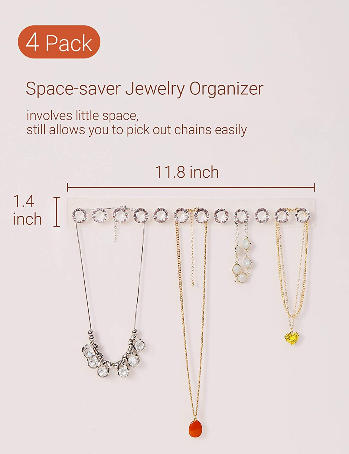 Jewelry Hangers for Necklace 2 Pack Necklace Hangers Acrylic Necklaces Holder Wall Mounted Jewelry Organizer Hanging with 12 Diamond Shape Hooks Gift for Girls Women