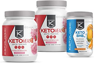 KetoLogic Keto 30 Challenge Bundle, 30-Day Supply | Includes 2 Meal Replacement Shakes with MCT [Strawberry] & 1 BHB Salt [Orange-Mango] | Suppresses Appetite, Promotes Weight Loss & Increases Energy