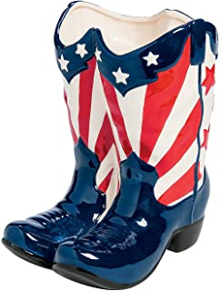 Fun Express - Patriotic Boot Planter for Fourth of July - Home Decor - Outdoor - Functional Garden - Fourth of July - 1 Piece