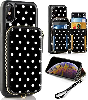 iPhone Xs Max Case, iPhone Xs Max Wallet Case with Credit Card Holder Slot Leather Wallet Zipper Pocket Purse Handbag Wrist Strap Case for Apple iPhone Xs Max - 6.5 inch 2018 - Polka Dots