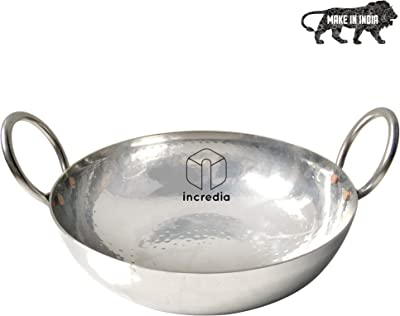 Incredia Stainless Steel Kadai with Handle 1250 Ml, Silver- Heavy Bottom Hammered Cookware, Kitchen Kadhai for Cooking/Deep Frying