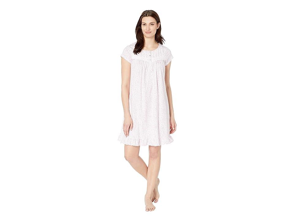 Eileen West Cotton Jersey Short Nightgown (White Rose Leaf Print) Women