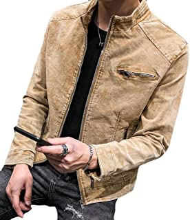 WSPLYSPJY Men's Fashion Solid Washed Denim Jacket Coats Zipper Jean Coats