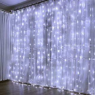 Cortina de Luces- 3m x 3m 300 LED- Blanco Frio- Resistente al Agua- 8 Modos de Luz- Decoracion de Navidad- Fiestas- Bodas- Jardin