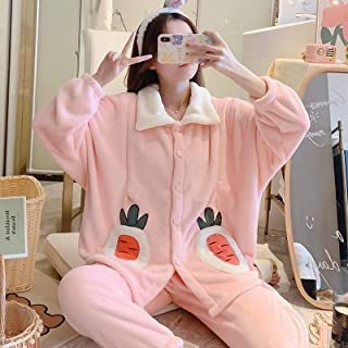 Two-Piece Thickened Warm Pajamas For Pregnant Women High Quality (Color : Pink)