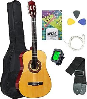 38 Inch Classical Guitar Full Size Guitar Handmade Wooden Guitar for Beginners Junior Kids Starter Kits with Waterproof Ba...
