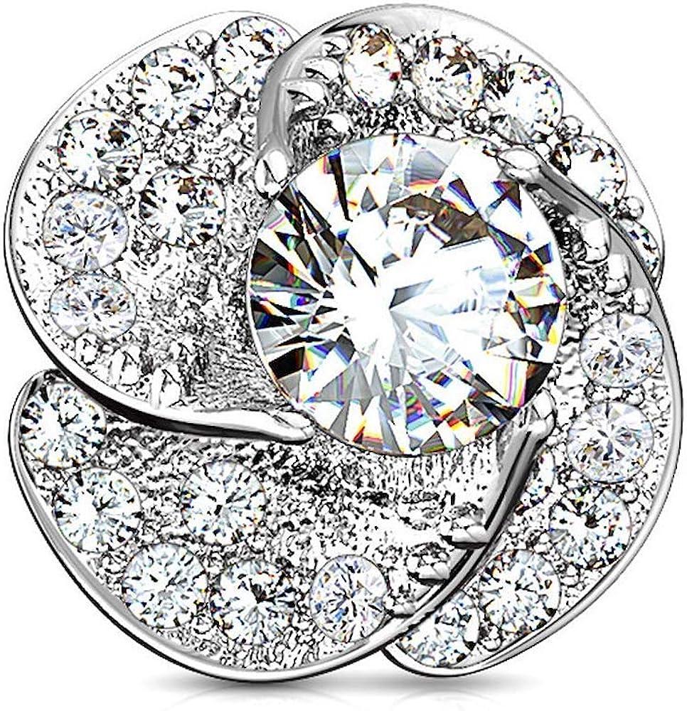 Covet Jewelry 14GA CZ Paved Milwaukee Mall Internally Blossom Round Max 71% OFF Rose and