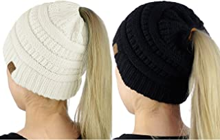 BeanieTail Soft Stretch Cable Knit Messy High Bun Ponytail Beanie Hat, 2 Pack