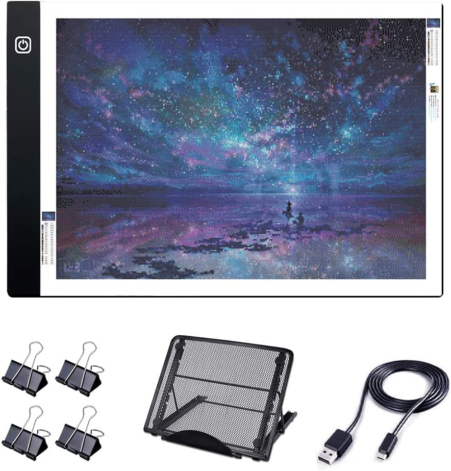 A4 LED Light Board USB Powered Dimmable Tracing Light Box with 4 Clips Easy for 5D Diamond Painting//Art /& Drawing A4 Diamond Painting Light Pad with Metal Stand