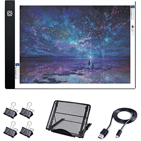A4 Diamond Painting Light Pad with Metal Stand, A4 LED Light Board USB Powered Dimmable Tracing Light Box with 4 Clips Easy for 5D Diamond Painting/Art & Drawing