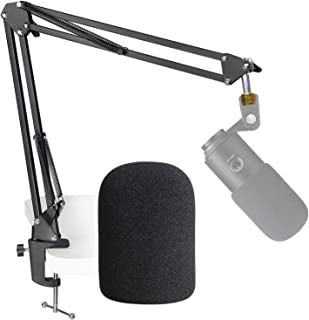 Fifine K669B Mic Boom Arm with Foam Windscreen, Suspension Boom Scissor Arm Stand with Pop Filter Cover for Fifine K669B M...