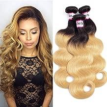 Bestsojoy 10A Brazilian Ombre Virgin Hair Body Wave Weft 4 Bundles 100% Human Hair Extensions Ombre Brazilian Body Wave Hair T1b/27 Color(14 16 18 20, T1b/27)