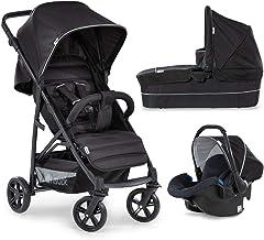 Hauck Rapid 4 Plus Trio Set - 3 en 1 carrito de bebe, Grupo 0+ adaptable a isofix, capazo, respaldo reclinable, de 0 meses a 25kg, manillar ajustable en altura, plegado fácil, negro (caviar/black)