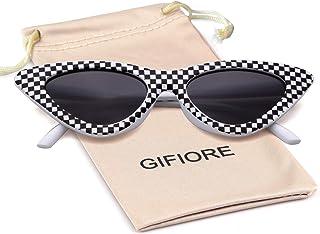 Gifiore Retro Vintage Cateye Sunglasses for Women Clout Goggles Plastic Frame Glasses