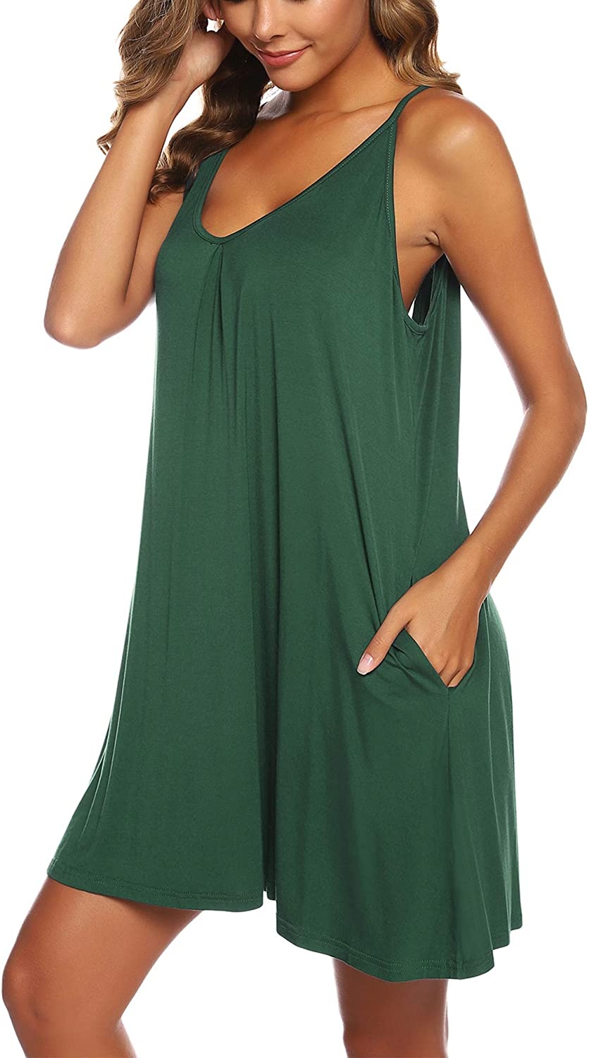 BAIXIN Women's Halter Summer Dresses Sleeveless Nightgown Sexy Sleeping Gown with Pockets Plus Size S-XXL