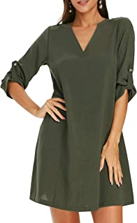 HOMEYEE Women's Roll Tab Sleeve V Neck Casual Mini Shift Dress A179