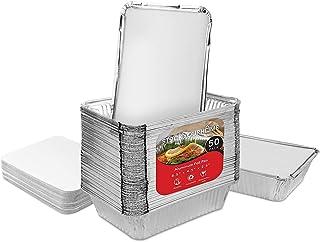 أوعية صغيرة مصنوعة من الألومنيوم مع أغطية (50 قطعة) 0.94 كجم للاستخدام مرة واحدة مع أغطية من الورق المقوى - حاويات لتخزين ...