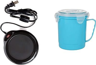 Home-X Mug Warmer, Desktop Heated Coffee & Tea - Candle & Wax Warmer (Black) and Microwave Soup Mug with Secure Snap Close Vented Lid, 22 Ounce, Blue