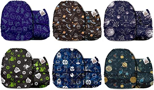 Mama Koala One Size Baby Washable Reusable Pocket Cloth Diapers, 6 Pack with 6 One Size Microfiber Inserts (Wandering...