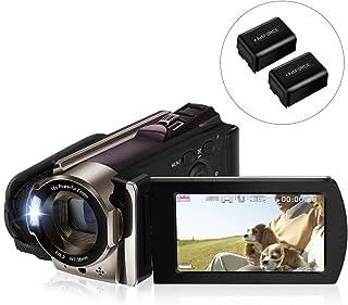 ビデオカメラ Rosdeca ポータブルデジタルビデオカメラ HD 16倍デジタルズーム 一時停止機能 HDMI機能付き 3.0液晶ディスプレイ 270度回転液晶画面 SDカード(最大128GB) 二つバッテリーあり 日本語取扱説明書