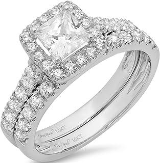Clara Pucci 1.60 CT Princess Cut Simulated Diamond CZ Pave Halo Bridal Engagement Wedding Ring Band Set 14k White Gold