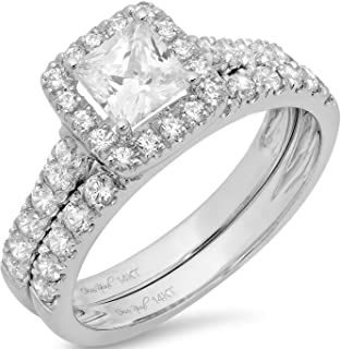 1.60 CT Princess Cut Simulated Diamond CZ Pave Halo Bridal Engagement Wedding Ring Band Set 14k White Gold