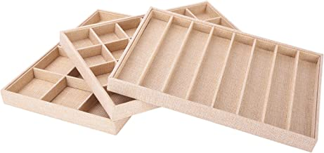 AUTOARK Sackcloth Stackable Jewelry Tray Showcase Display Organizer,Set of 3,AJ-005