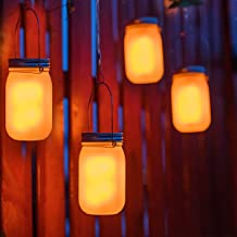 Mason Jar Light Battery Powered with Flickering Flame Effect(Hanger Batteries Included),4 Hours Timer.Indoor/Outdoor Table Jar Light for Patio,Yard,Garden,Party,Wedding,Decorative Light Zkee(4 Pack)
