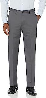 Haggar Men's Premium No-Iron Expandable-Waist Plain-Front Pant Dark Grey,48x32