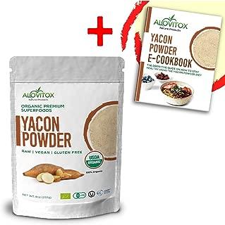 Yacon Root Powder Natural Sweetener - Sugar Substitute Sugar-Free Keto Paleo and Vegan - Wellness and Weightloss Prebiotic Diet Friendly Pure Raw Plant Extract - USDA Organic 8oz by Alovitox