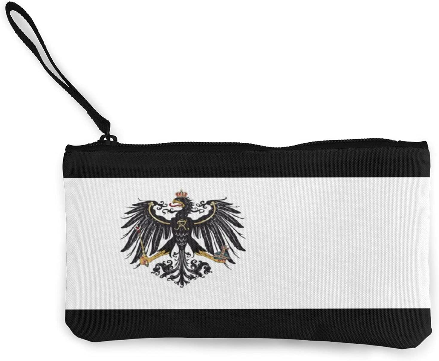 Flag Of The Kingdom Of Prussia Multifunction Travel Toiletry Pouch Small Canvas Coin Wallet Bag Zipper