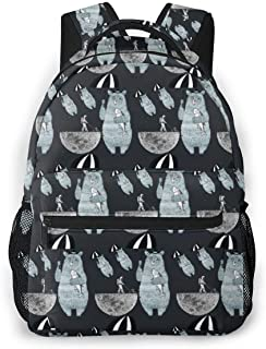 Lightweight School Backpack College Travel Bookbag Casual Rucksack Fit 15 Inch Laptop Umbrella Bear Lunar Astronaut