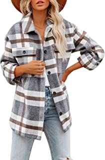 Women's Brushed Plaid Shirts Long Sleeve Flannel Lapel...