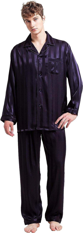 SIHA Mens Satin Pajamas, Long Sleeve Button-Down Pj Set