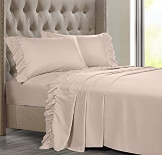 Posh Home 4 Piece Ruffle Hem Ultra Soft Sheet Set Wrinkle & Fade Resistant, King, Blush