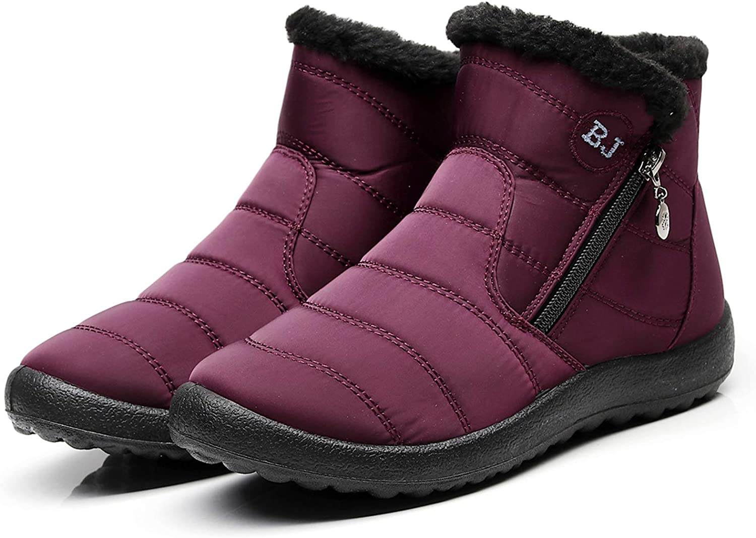 LAVAU Womens Winter Snow Boots Fur Lined Warm Ankle Boots Slip On Waterproof Outdoor Booties Comfortable Shoes for Women
