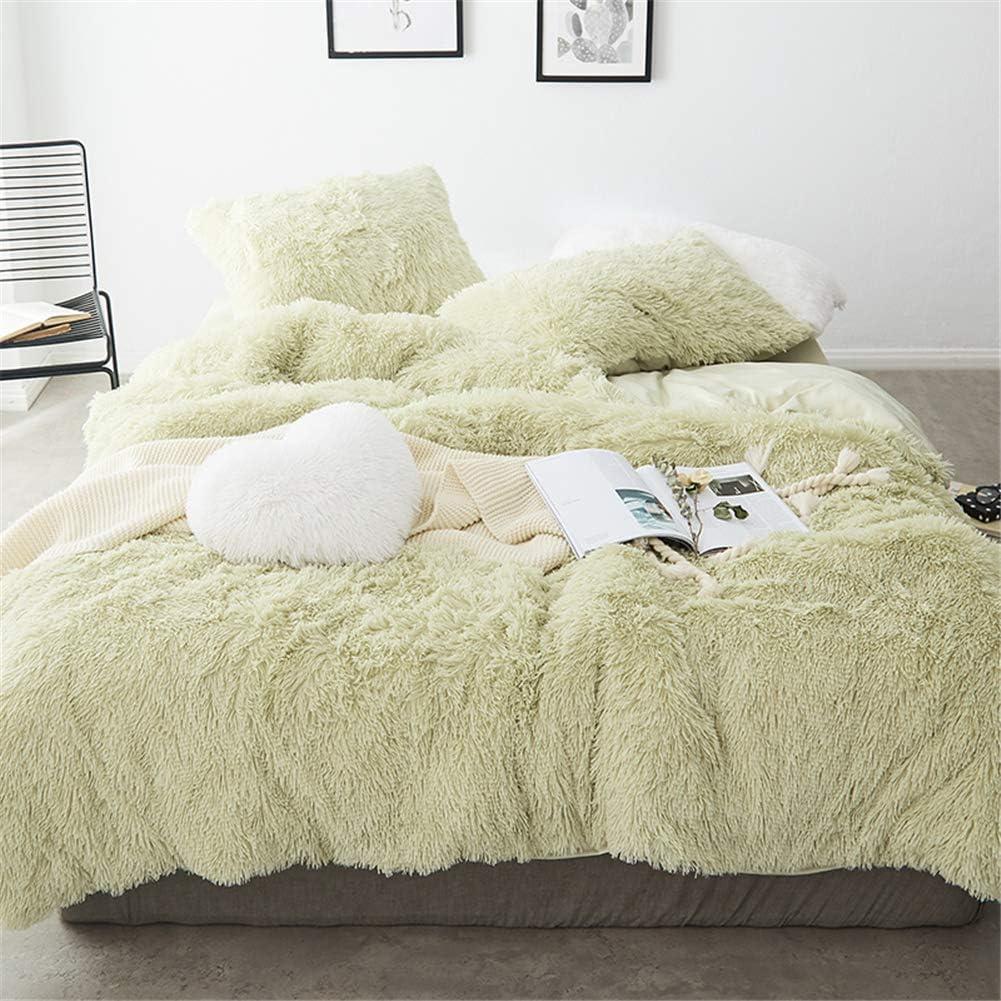 MOOWOO 4 PCS Luxury Shaggy Plush Bedding Sets, 1 Fluffy Faux Fur Duvet Cover + 1 Velvet Bed Flat Sheet + 2 Furry Pillow Shams, Zipper Closure, 4 PCS (Green, Queen