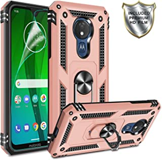 Moto G7 Power Phone Case,Moto G7 Supra Case with HD Screen Protector,Gritup 360 Degree Rotating Metal Ring Holder Kickstand Armor Anti-Scratch Bracket Cover Phone Case for Motorola G7 Power Rose Gold