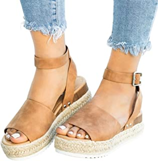 Espadrilles for Women Wedge,2020 Retro Wedge Ankle Buckle Sandals Fashion Summer Beach Sandals Open Toe Espadrilles