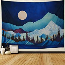 Heopapin Mountain Tapestry Forest Tree Tapestry Moon Tapestry Abstract Watercolor Nature Landscape Tapestry Wall Hanging for Room H59.1 × W78.7inches
