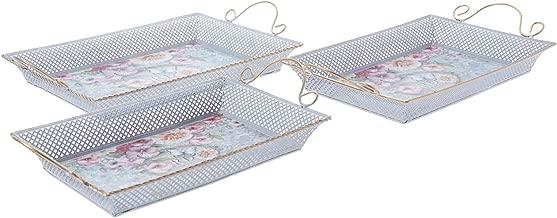 Almarjan Set of 3 Pieces Rectangle Tin Breakfast Tray  18FX-322