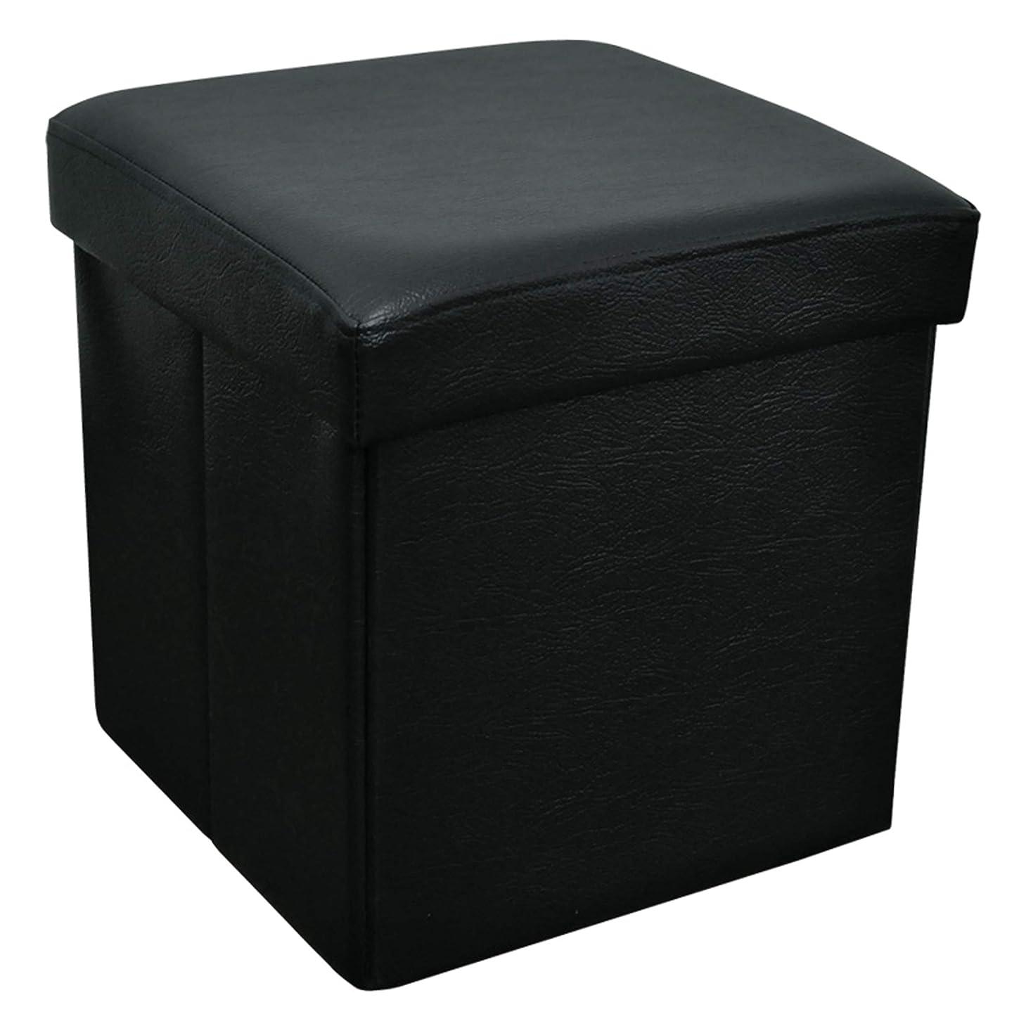 ルネッサンス火星虫収納ボックススツールオットマン 30cm角 ブラック(黒) 折りたたみ式 合成レザー